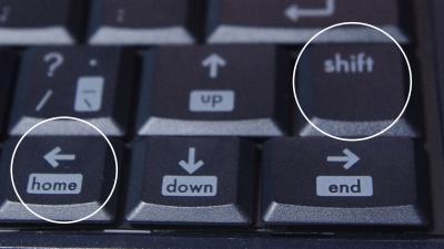 Shiftキーと矢印キーで文章を選択できる