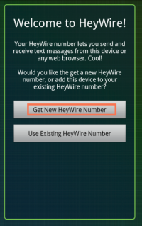 Get New HeyWire Numberをタップ