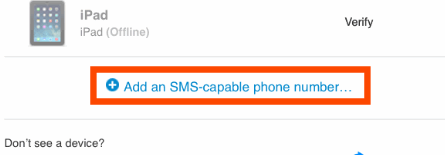 Add an SMS-capable Phone numberをタップ